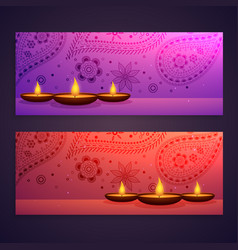 set of diwali festival banners vector image