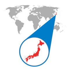 world map with zoom on japan map in loupe in flat vector image vector image