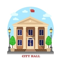 City hall architecture facade of building exterior vector image