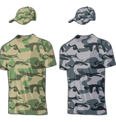 Military Shirts and caps templates vector image