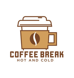 coffee break cafe with hot and cold drinks emblem vector image vector image