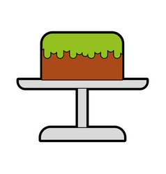 cute stand birthday cake cartoon vector image vector image