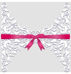 lace border and red ribbon vector image vector image