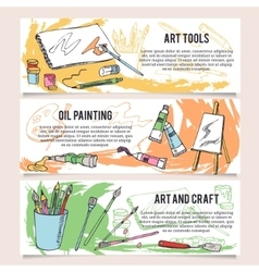 Set of art and craft tools design templates vector image vector image
