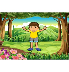 A brave child at the jungle vector image
