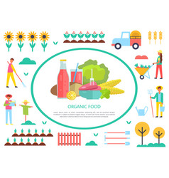 Agriculture harvesting season farms and transport vector