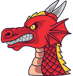 angry dragon head mascot vector image