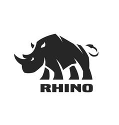 Angry rhino monochrome logo vector