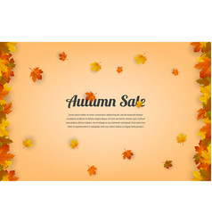 autumn sale autumn background with red yellow vector image