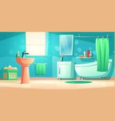 Bathroom interior with bath sink and mirror vector