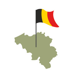 Belgium map and flag belgian banner and land vector
