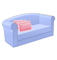 Blue sofa with pink pillow isolated on white vector