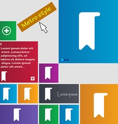 Bookmark icon sign Metro style buttons Modern vector