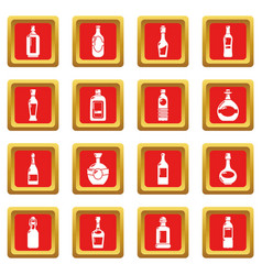 bottles icons set red square vector image