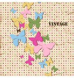 Butterfly background old paper texture and polka vector