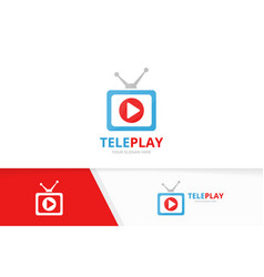 Button play and tv logo combination record vector