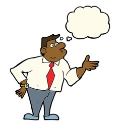 Cartoon businessman asking question with thought vector