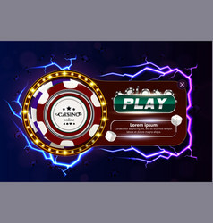 casino poker web banner with chips dice and play vector image