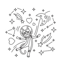 cat astronaut in space vector image