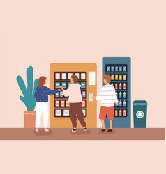 children buying snack and beverage at vending vector image