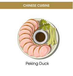 chinese cuisine peking duck traditional dish food vector image