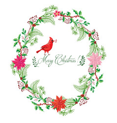 christmas background with wreath bird vector image