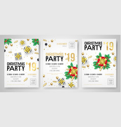 christmas party invitation gifts posters vector image