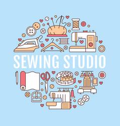 Clothing repair sewing studio equipment banner vector
