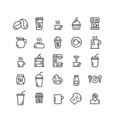 coffee shop outline icon set vector image