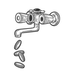 coin from faucet sketch vector image