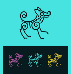 Colored dog outline silhouette in ethnic style vector