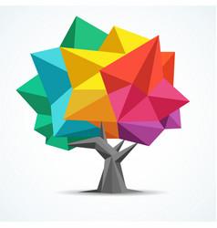 colorful tree geometric polygon design vector image