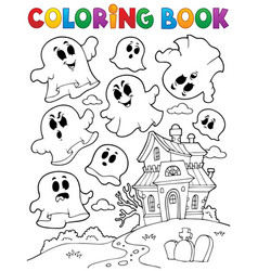 Coloring book ghost theme 2 vector