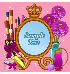 Cosmetic set with mirror and space for text vector
