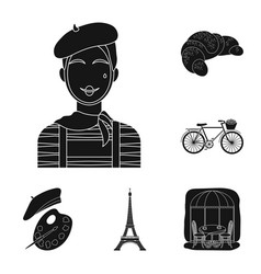 country france black icons in set collection for vector image