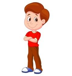 Cute boy cartoon standing vector