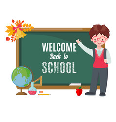 cute boy with chalkboard and school supplies vector image
