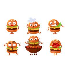 cute burger cartoon character set funny fast food vector image