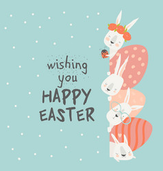 cute cartoon bunny with easter eggs happy holiday vector image