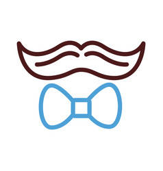 Dad mustache hipster and bowtie line style icon vector
