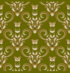 damask baroque style 3d seamless pattern vector image