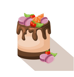 Delicious cake dessert chocolate and strawberry vector