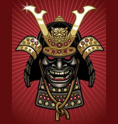 Detailed traditional samurai helmet and mask vector