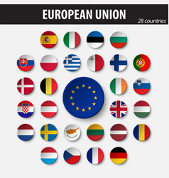 flags of european union and members vector image