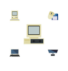 Flat icon laptop set of pc computer notebook and vector
