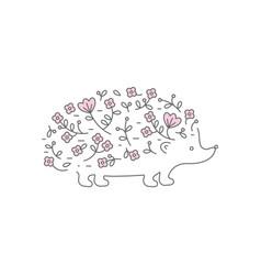 floral hedgehog logo for your design vector image