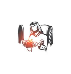 gadgets business trip businessman muslim vector image