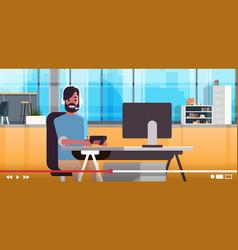 gamer blogger in headphones streaming live online vector image