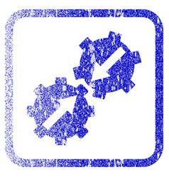 Gear integration framed textured icon vector