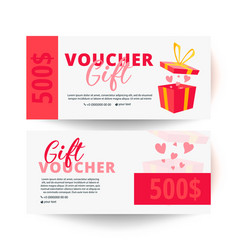Gift voucher with clean and modern pattern vector